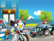 Samochód policyjny przy obowiązkiem - ilustracja dla dzieci Fotografia Stock