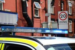 Samochód policyjny zamyka z drogi, jawny bezpieczeństwo, ważny incydent Zdjęcia Royalty Free