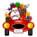 samochód przedstawia Santa czerwonych reniferowych sporty Obrazy Royalty Free