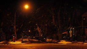 Samochód przejażdżka Za City Road Z Śnieżny Spadać zbiory