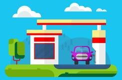 Samochód przy benzynową stacją na terenach odkrytych krajobrazu Wektorowa płaska kreskówka Zdjęcia Stock