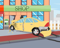 Samochód rozbijał w sklep Obraz Royalty Free