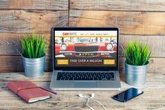 Samochód rozdziela handel elektroniczny stronę internetową Obrazy Stock