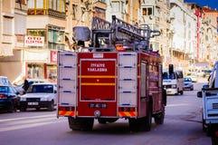 Samochód Strażacki Na Przeciwawaryjnej skrzynce Obrazy Stock