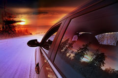 samochód sunset ilustracyjny wektora Obraz Royalty Free