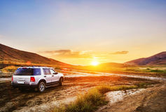 samochód sunset ilustracyjny wektora Zdjęcia Stock