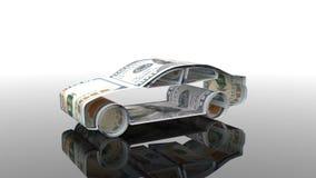 Samochód tworzy od pieniądze pojęcie finansować przemysłu samochodowego, pożycza kupować samochody, gotówka koszty dla ilustracja wektor