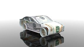 Samochód tworzy od pieniądze pojęcie finansować przemysłu samochodowego, pożycza kupować samochody, gotówka koszty dla ilustracji