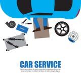 Samochód usługa, Auto mechanik, Samochodowego mechanika naprawianie Pod Automobil ilustracja wektor