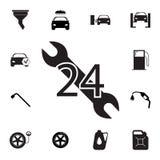 Samochód usługa, 24 godziny ikony Set samochód naprawy ikony Znaki, konturu eco kolekcja, proste ikony dla stron internetowych, s Zdjęcia Royalty Free