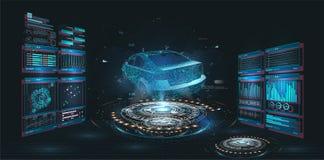 Samochód usługa w stylu HUD, samochodu infographic ui, analizy i diagnostyków w hud stylu, ilustracja wektor