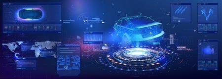 Samochód usługa w stylu HUD UI GUI hologram samochód Samochodowa projekcja Samochodowa samochód usługa, Nowożytny projekt, Diagno zdjęcia royalty free