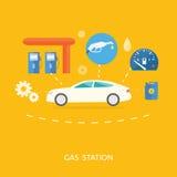 Samochód w Benzynowej staci Paliwowa benzyny aptekarki pompa Zdjęcia Royalty Free