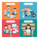 Samochód, wisząca ozdoba, farmaceuta i komputerowy sklep, ilustracja wektor