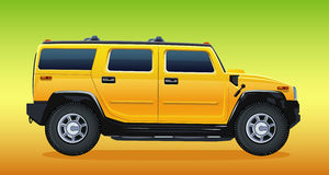 samochód z drogowego kolor żółty Obrazy Royalty Free