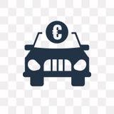 Samochód z euro wektorową ikoną odizolowywającą na przejrzystym tle, Ca royalty ilustracja