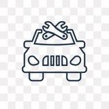 Samochód z remontowego wyposażenia wektorową ikoną odizolowywającą na przejrzystych półdupkach ilustracji