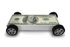 Samochód zakrywający z my dolar - 3d rendering ilustracja wektor
