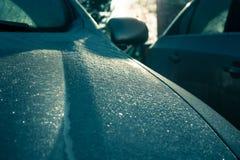 Samochód zakrywający w mrozie Fotografia Royalty Free