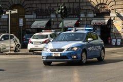 Samochód policyjny przy przeciwawaryjnym Rzym Fotografia Royalty Free