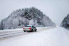 Samochodów światła w zima lesie Fotografia Stock