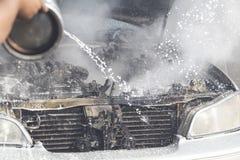 Samochodów palić fotografia royalty free