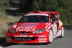 206 samochodów Peugeot zlotny wrc Fotografia Stock