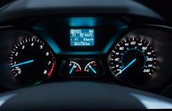 Samochodowa deska rozdzielcza przy nocą Obraz Stock