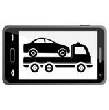 Samochodowa holować ciężarówka na Smartphone - ilustracja Obrazy Royalty Free