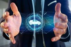 Samochodowa ikona na futurystycznym interfejsie Zdjęcia Stock