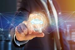 Samochodowa ikona na futurystycznym interfejsie Fotografia Royalty Free