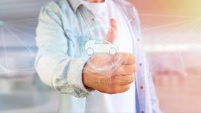 Samochodowa ikona na futurystycznym interfejsie Obraz Royalty Free