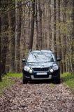 samochodowa lasowa droga Obrazy Royalty Free