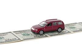 samochodowa pieniądze czerwieni droga Obrazy Stock