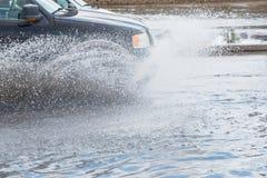 Samochodowa pluśnięcie powódź Fotografia Royalty Free