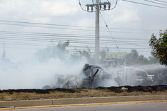 Samochodowa pożarnicza opłata gazować wybuch Fotografia Stock