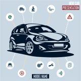 Samochodowa prezentacja. Główne samochodowe ikony ustawiać. Obrazy Royalty Free