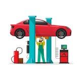 Samochodowa remontowego sklepu stacja, repairman, auto diagnostyków narzędzia, mechanika warsztat royalty ilustracja