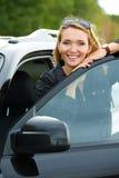 samochodowa szczęśliwa nowa kobieta Zdjęcia Royalty Free