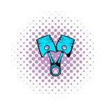 Samochodowa tłok komiczek ikona ilustracja wektor
