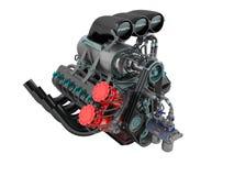 Samochodowa Turbo czerwona błękitna perspektywa na lewym 3D odpłaca się na białym tle żadny cień Obrazy Stock