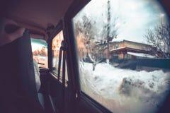 Samochodowa wycieczka na zima pogodnym wieczór Fotografia Royalty Free