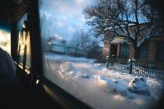 Samochodowa wycieczka na zima pogodnym wieczór Fotografia Stock
