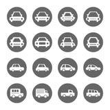Samochodowe ikony ustawiać, biały na okręgu popielatym kształcie obraz royalty free