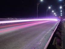 Samochodowe Lekkie linie na drodze Fotografia Royalty Free