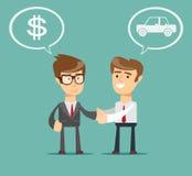 Samochodowe sprzedaże - auto handlowiec z nowym właścicielem ilustracji