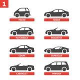 Samochodowe typ i modela przedmiotów ikony Ustawiają, samochód Zdjęcia Stock