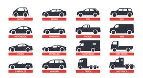 Samochodowe typ i modela przedmiotów ikony Ustawiają, samochód Wektorowa czarna ilustracja na białym tle z cieniem Warianty fotografia royalty free