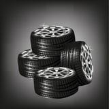 Samochodowe wektorowe opony odizolowywać na czarnym tle Zdjęcie Royalty Free