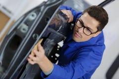 Samochodowego drzwi dylemat i zmiany część fotografia stock